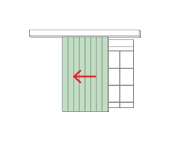 External sliding slat shutters with valance